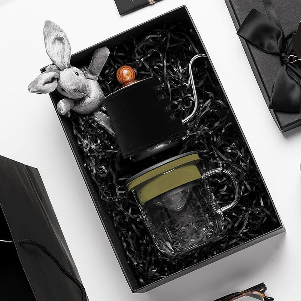 PO:Selected 丹麥手沖咖啡禮盒組(手沖咖啡壺-黑/咖啡玻璃杯350ml-黑綠)