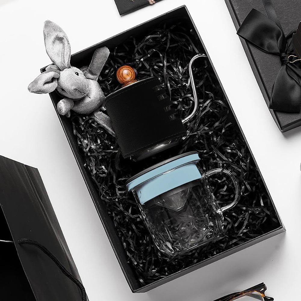 PO:Selected|丹麥手沖咖啡禮盒組(手沖咖啡壺-黑/咖啡玻璃杯350ml-黑藍)