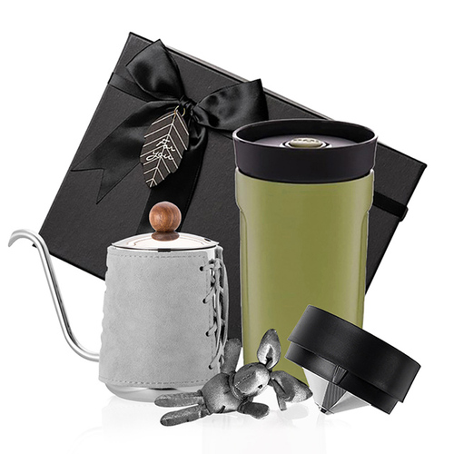 PO:Selected 丹麥手沖咖啡禮盒組(手沖咖啡壺-灰/隨行保溫咖啡杯350ml-綠)