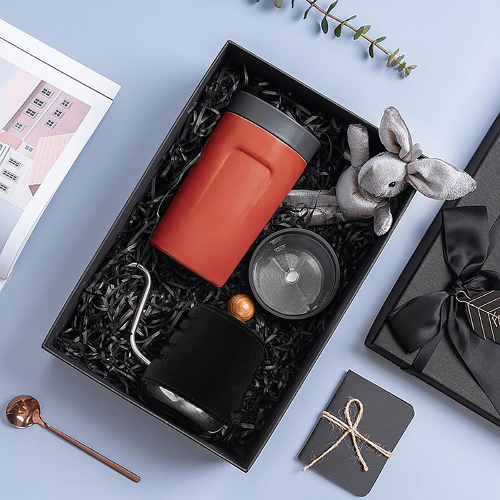 PO:Selected|丹麥手沖咖啡禮盒組(手沖咖啡壺-黑/隨行保溫咖啡杯350ml-紅)