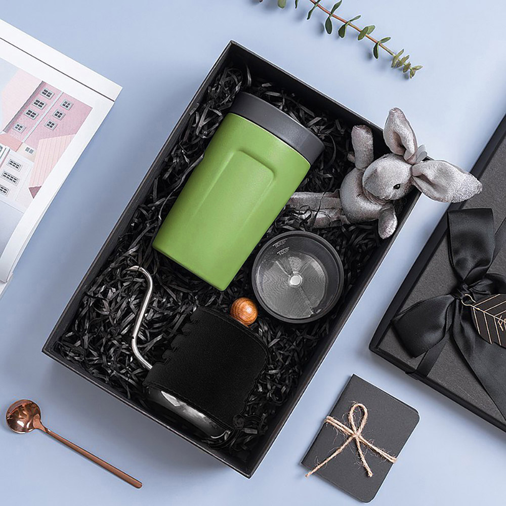 PO:Selected|丹麥手沖咖啡禮盒組(手沖咖啡壺-黑/隨行保溫咖啡杯350ml-綠)