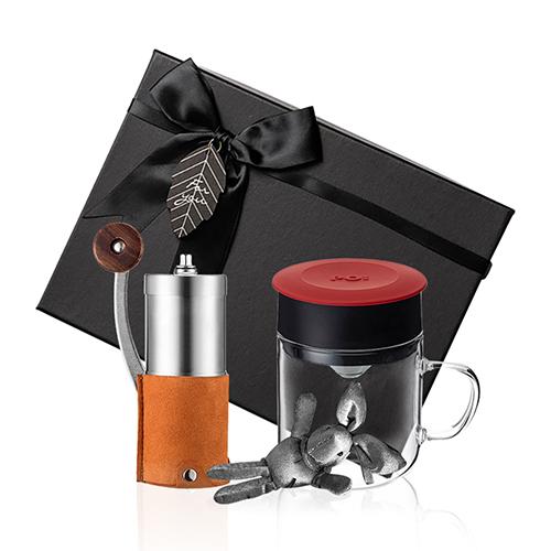 PO:Selected|丹麥手沖咖啡禮盒組(手動咖啡磨-咖/咖啡玻璃杯240ml-紅)