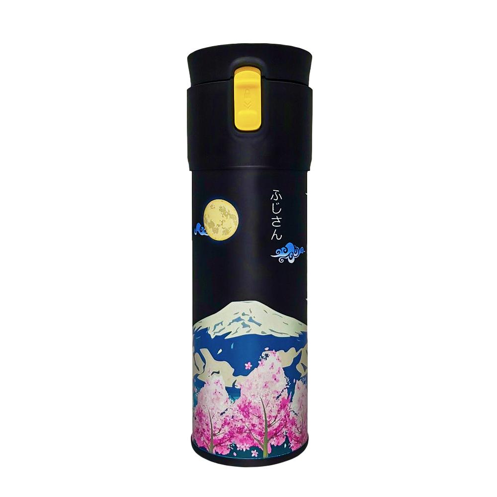 PO:Selected|丹麥保溫泡茶杯470ml(黃)-櫻花富士山