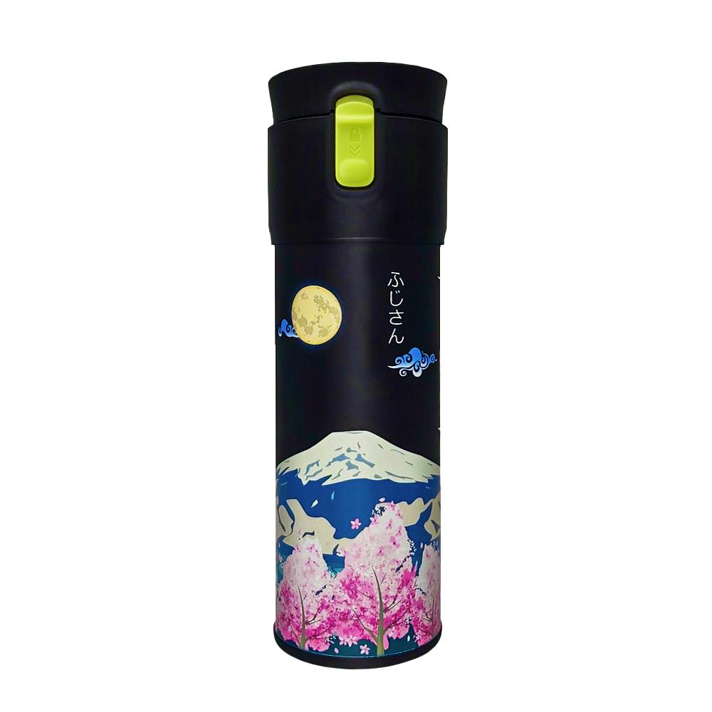PO:Selected|丹麥保溫泡茶杯470ml(綠)-櫻花富士山