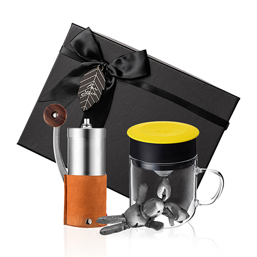 PO:Selected 丹麥手沖咖啡禮盒組(手動咖啡磨-咖/咖啡玻璃杯240ml-黃)