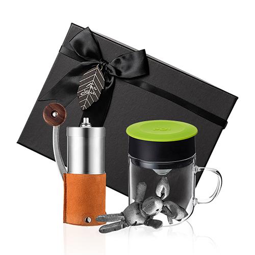 PO:Selected|丹麥手沖咖啡禮盒組(手動咖啡磨-咖/咖啡玻璃杯240ml-綠)