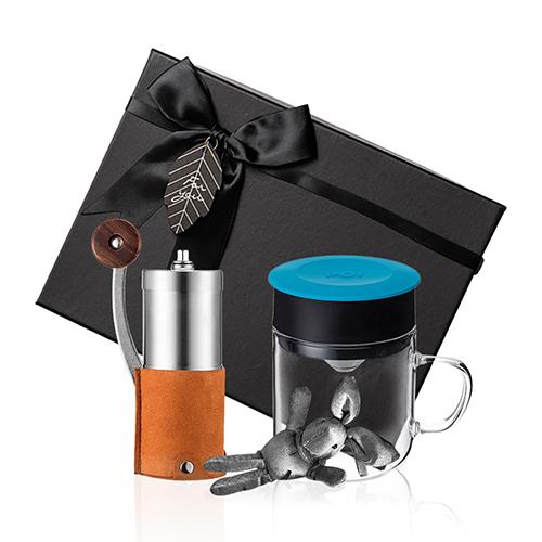 PO:Selected 丹麥手沖咖啡禮盒組(手動咖啡磨-咖/咖啡玻璃杯240ml-藍)