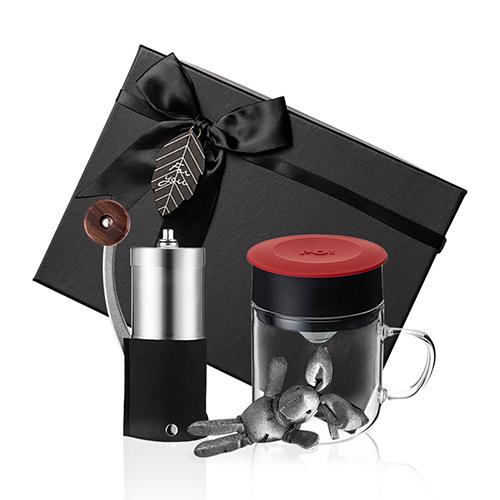 PO:Selected|丹麥手沖咖啡禮盒組(手動咖啡磨-黑/咖啡玻璃杯240ml-紅)