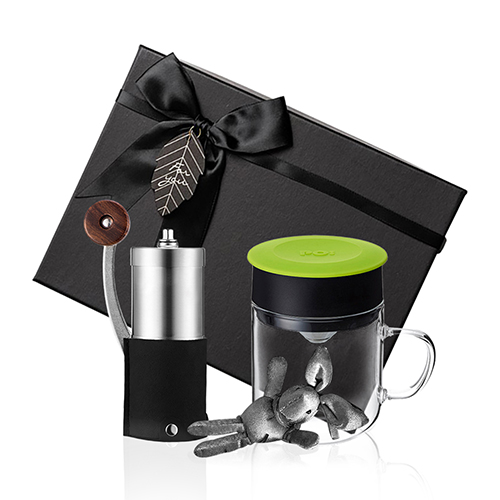 PO:Selected|丹麥手沖咖啡禮盒組(手動咖啡磨-黑/咖啡玻璃杯240ml-綠)