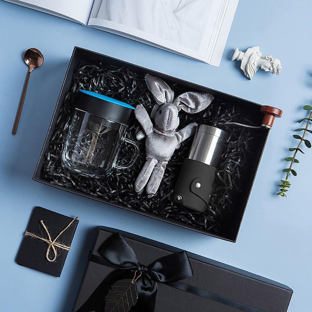 PO:Selected|丹麥手沖咖啡禮盒組(手動咖啡磨-黑/咖啡玻璃杯240ml-藍)