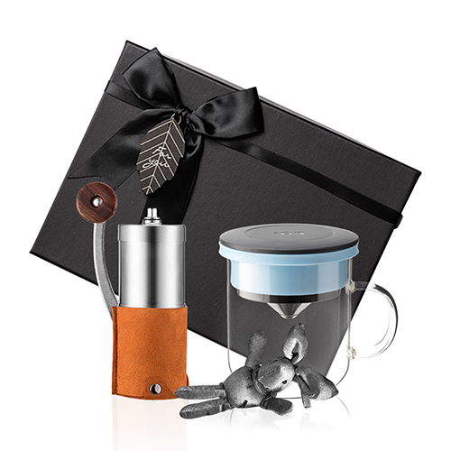 PO:Selected|丹麥手沖咖啡禮盒組(手動咖啡磨-咖/咖啡玻璃杯350ml-黑藍)