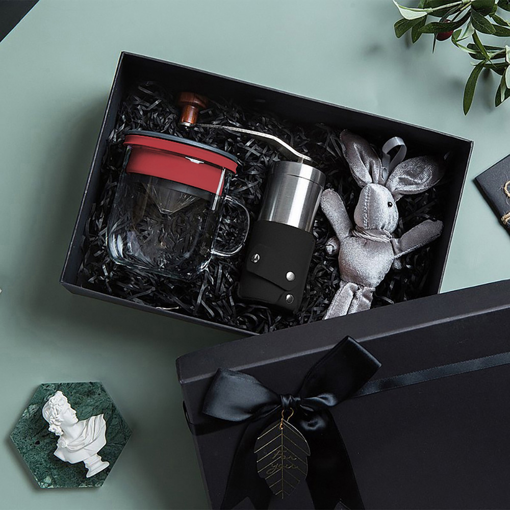 PO:Selected|丹麥手沖咖啡禮盒組(手動咖啡磨-黑/咖啡玻璃杯350ml-黑紅)
