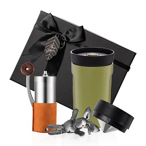 PO:Selected|丹麥手沖咖啡禮盒組(手動咖啡磨-咖/隨行保溫咖啡杯350ml-綠)