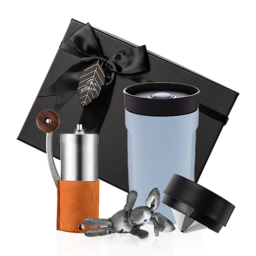 PO:Selected 丹麥手沖咖啡禮盒組(手動咖啡磨-咖/隨行保溫咖啡杯350ml-藍)