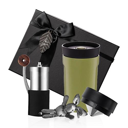 PO:Selected|丹麥手沖咖啡禮盒組(手動咖啡磨-黑/隨行保溫咖啡杯350ml-綠)