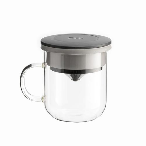 PO:Selected|丹麥DIY手沖咖啡二件組 (手沖咖啡壺-灰/咖啡玻璃杯350ml-黑灰)