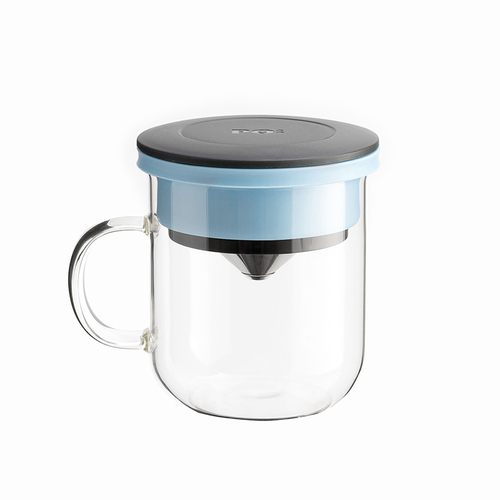 PO:Selected|丹麥DIY手沖咖啡二件組 (手沖咖啡壺-黑/咖啡玻璃杯350ml-黑藍)