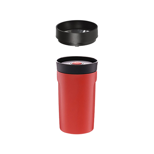 PO:Selected|丹麥DIY手沖咖啡二件組 (手沖咖啡壺-灰/隨行保溫咖啡杯350ml-紅)