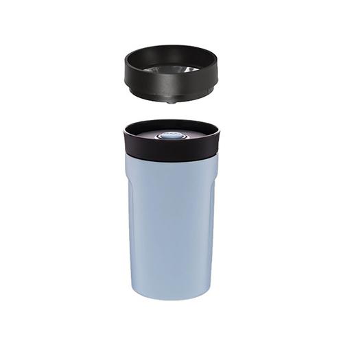 PO:Selected|丹麥DIY手沖咖啡二件組 (手沖咖啡壺-灰/隨行保溫咖啡杯350ml-藍)