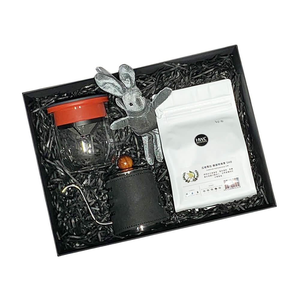 PO:Selected|即期品-丹麥POx黑沃薇薇特南果咖啡禮盒組(手沖壺-黑/咖啡杯350ml-黑紅)