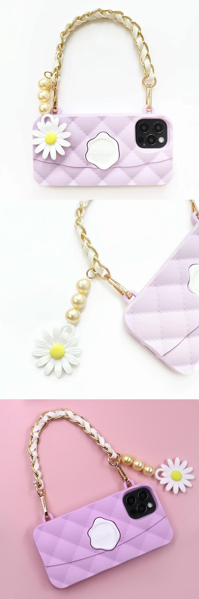 Candies|Cliche雛菊珍珠晚宴包(紫) - iPhone 12 Pro
