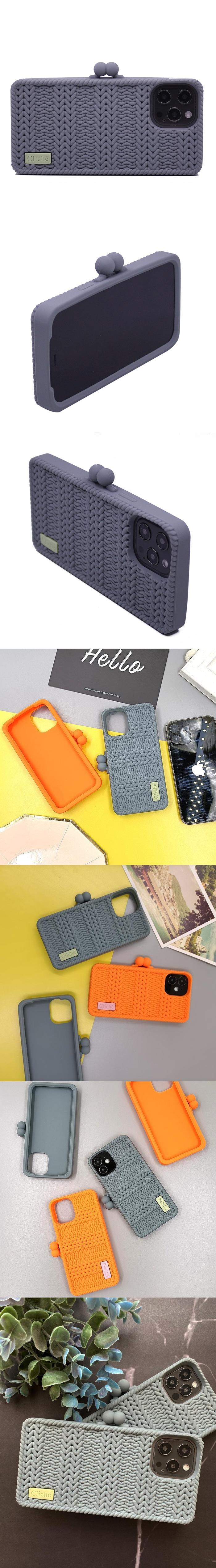 Candies|Cliche針織 雙珠扣錢包(灰) - iPhone 12 Pro Max
