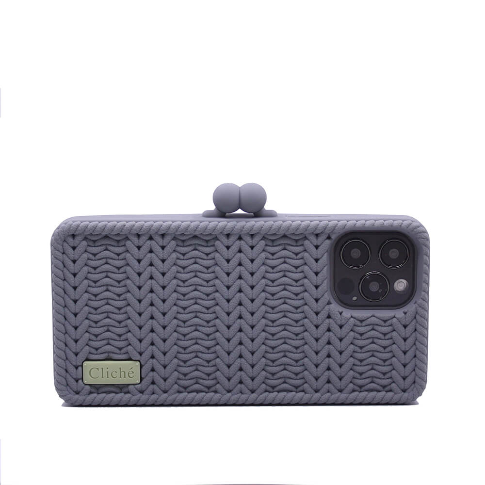 Candies|Cliche針織 雙珠扣錢包(灰)-iPhone 12 / 12 Pro