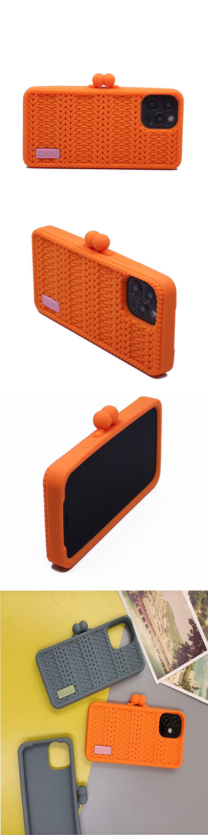 Candies|Cliche針織 雙珠扣錢包(橘)-iPhone 12 / 12 Pro