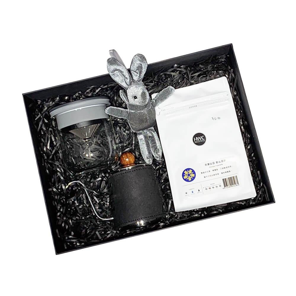 PO:Selected 丹麥POx黑沃耶加雪菲咖啡禮盒組(手沖壺-黑/咖啡杯350ml-黑灰)
