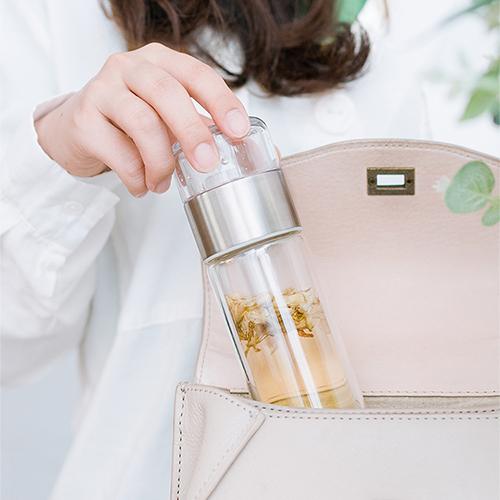 PO:Selected 丹麥攜帶式雙層玻璃泡茶杯200ml(紫藤花)