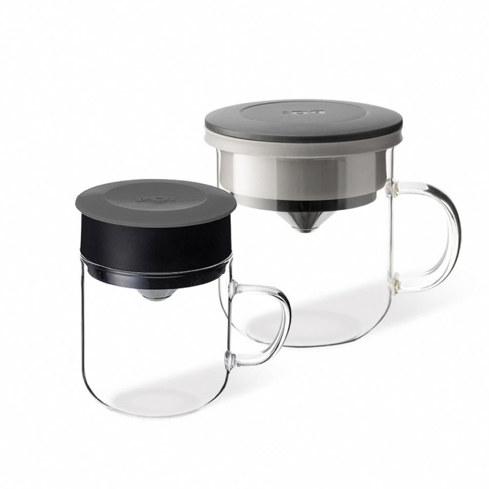 PO:Selected|丹麥2入組手沖咖啡(咖啡玻璃杯350ml-黑灰)+(咖啡玻璃杯240ml-灰)
