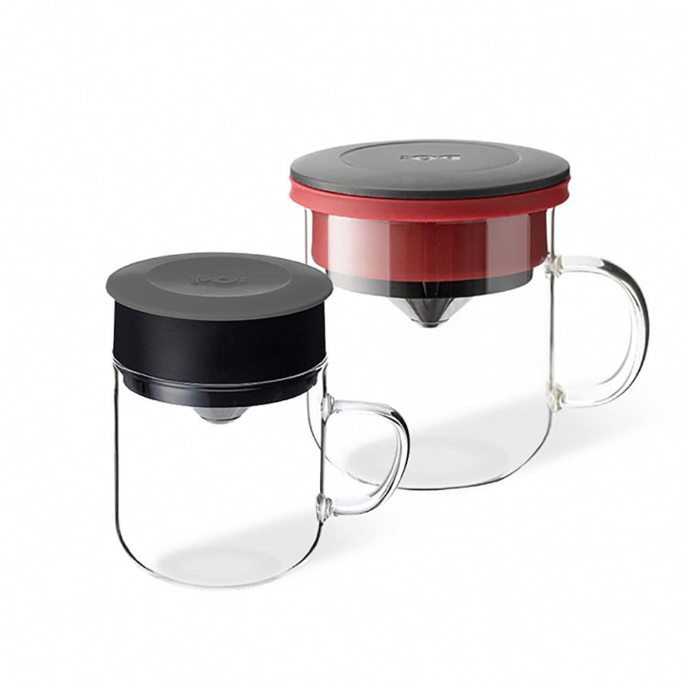 PO:Selected|丹麥2入組手沖咖啡(咖啡玻璃杯350ml-黑紅)+(咖啡玻璃杯240ml-灰)