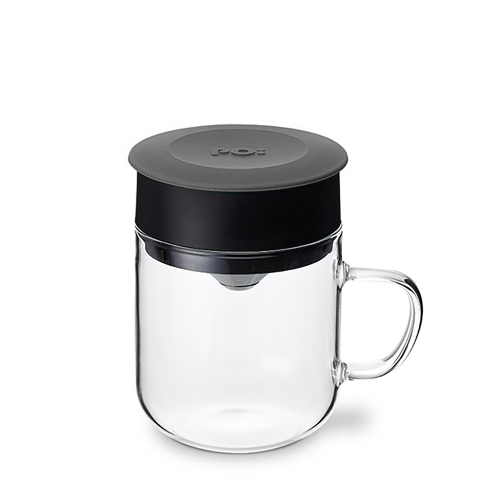 PO:Selected|丹麥2入組手沖咖啡(咖啡玻璃杯350ml-黑綠)+(咖啡玻璃杯240ml-灰)