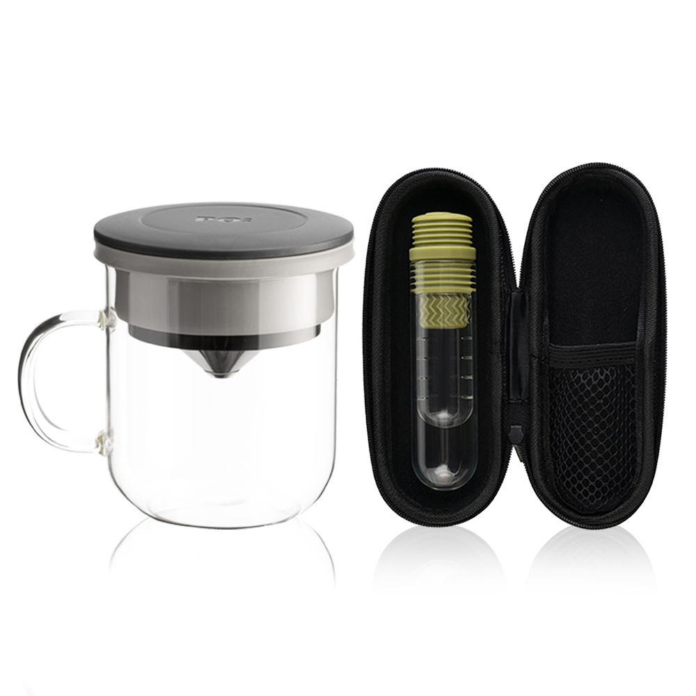 PO:Selected|丹麥咖啡泡茶兩件組 (咖啡玻璃杯350ml-黑灰/試管茶格-綠)