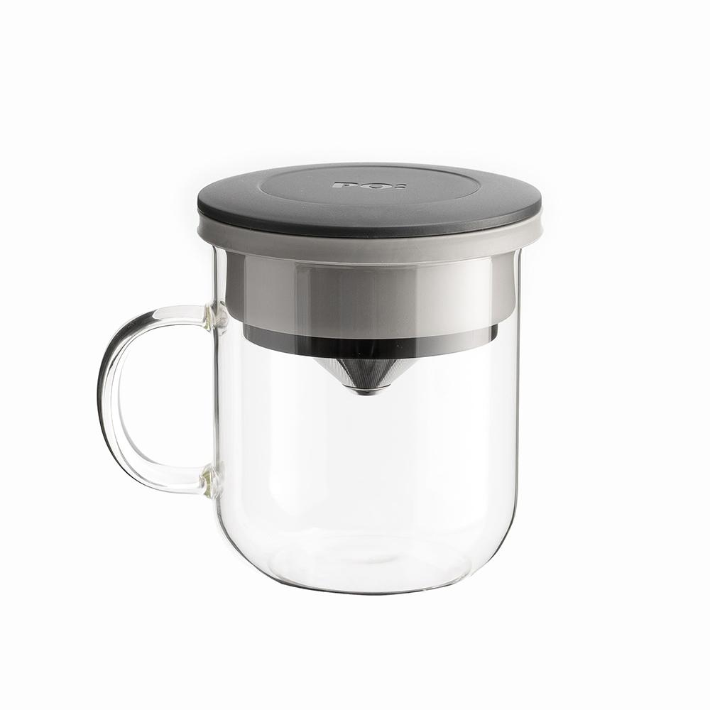 PO:Selected|丹麥咖啡泡茶兩件組 (咖啡玻璃杯350ml-黑灰/試管茶格-紅)