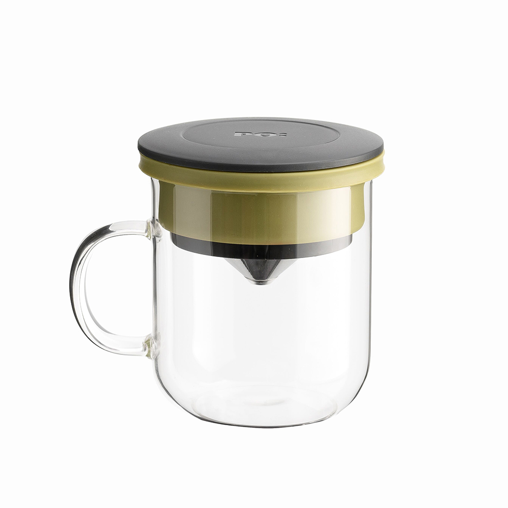 PO:Selected 丹麥咖啡泡茶兩件組 (咖啡玻璃杯350ml-黑綠/試管茶格-紅)