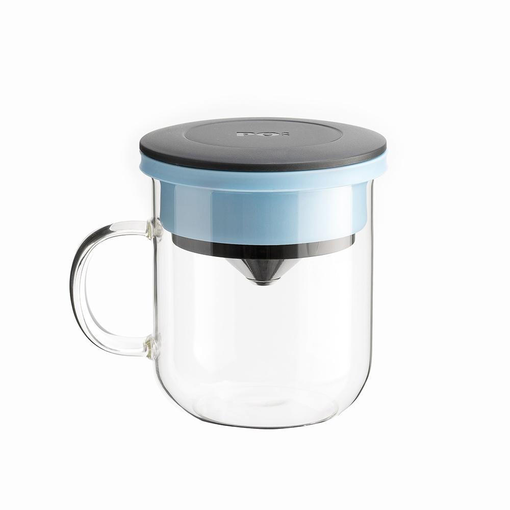 PO:Selected|丹麥咖啡泡茶兩件組 (咖啡玻璃杯350ml-黑藍/試管茶格-藍)