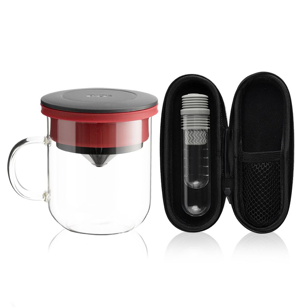 PO:Selected|丹麥咖啡泡茶兩件組 (咖啡玻璃杯350ml-黑紅/試管茶格-灰)