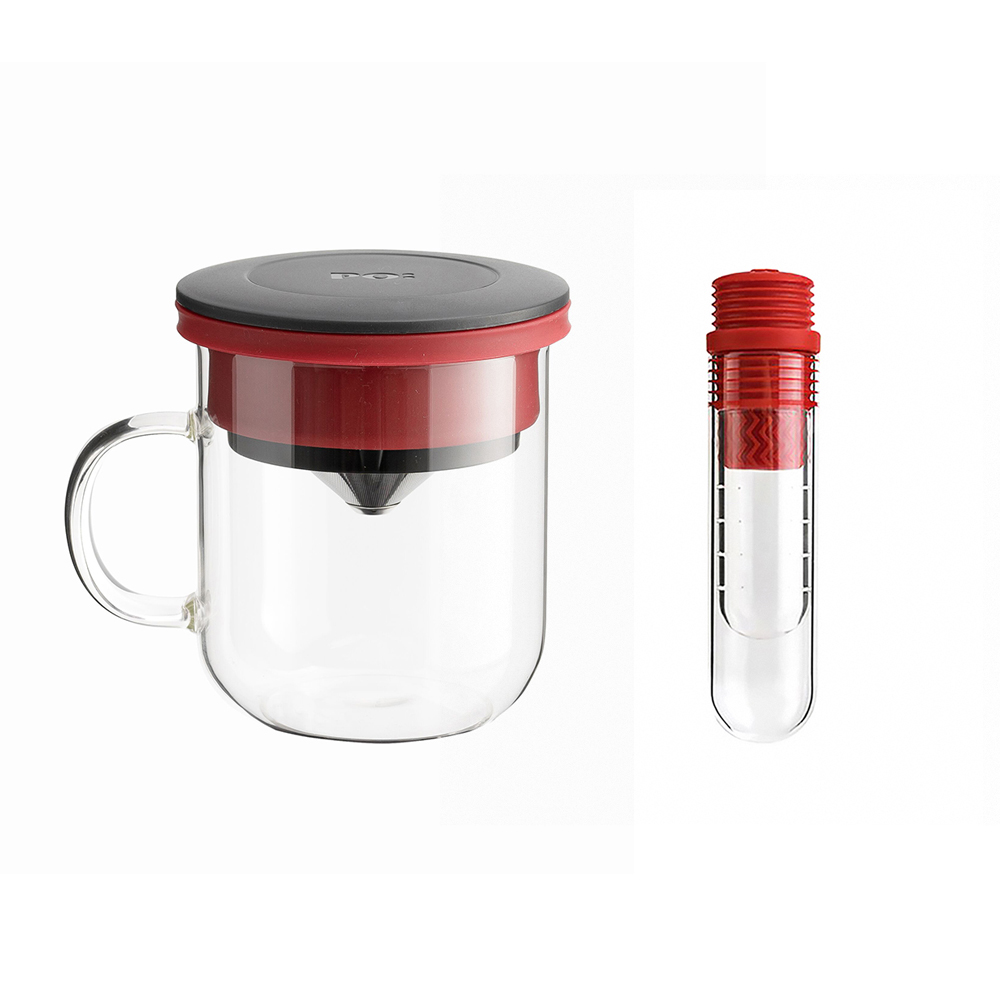 PO:Selected 丹麥咖啡泡茶兩件組 (咖啡玻璃杯350ml-黑紅/試管茶格-紅)