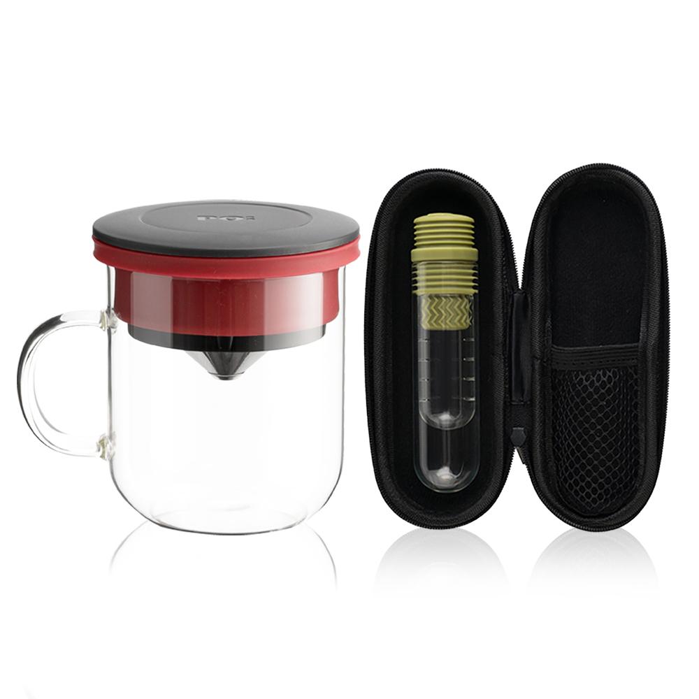 PO:Selected 丹麥咖啡泡茶兩件組 (咖啡玻璃杯350ml-黑紅/試管茶格-綠)