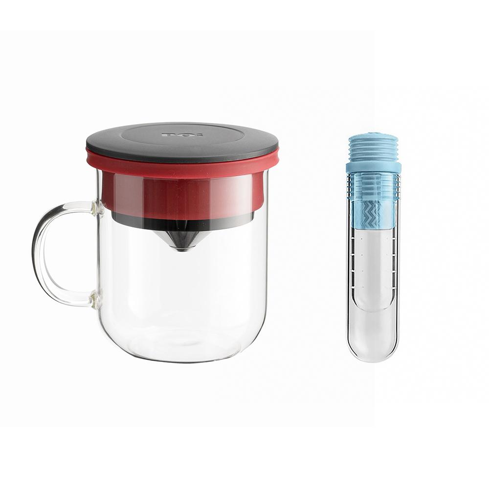 PO:Selected|丹麥咖啡泡茶兩件組 (咖啡玻璃杯350ml-黑紅/試管茶格-藍)