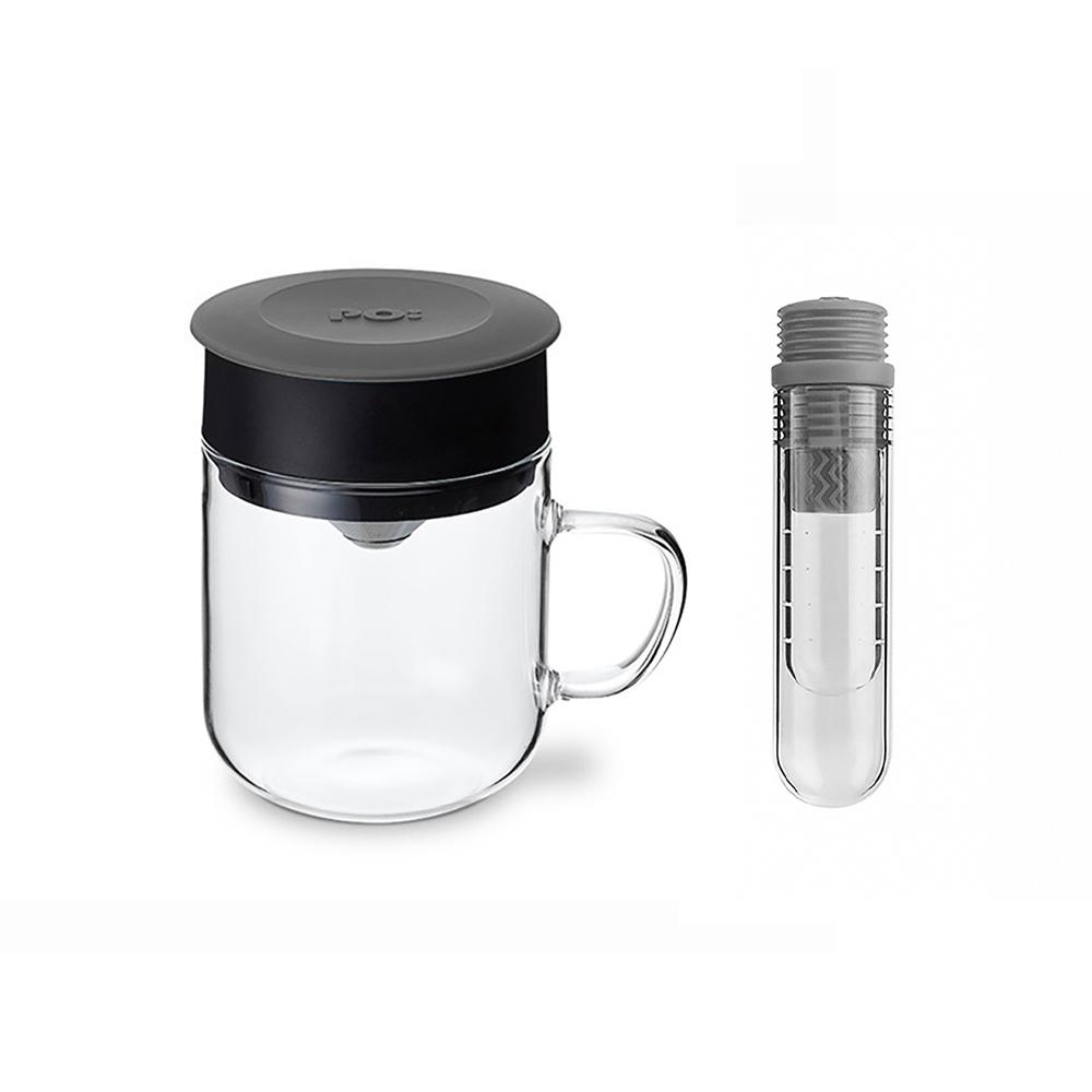 PO:Selected|丹麥咖啡泡茶兩件組 (咖啡玻璃杯240ml-灰/試管茶格-灰)