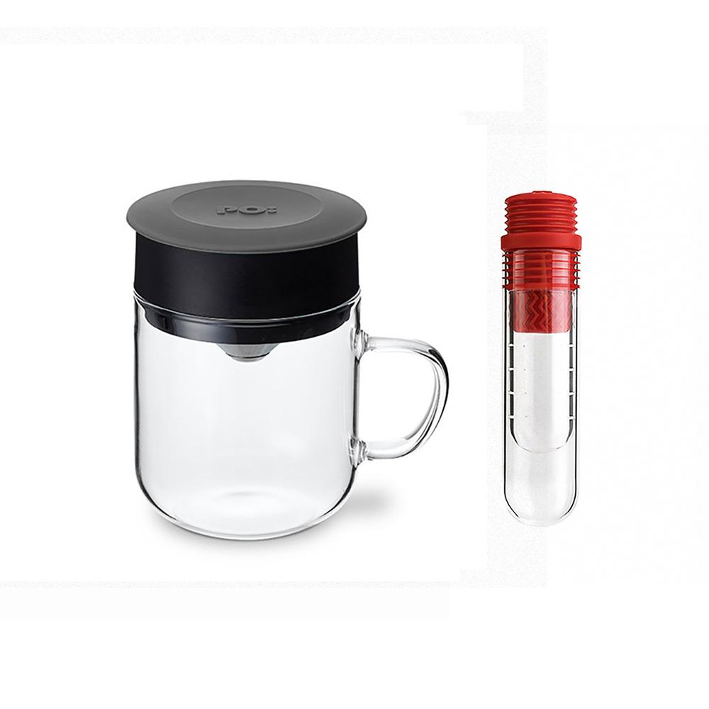PO:Selected|丹麥咖啡泡茶兩件組 (咖啡玻璃杯240ml-灰/試管茶格-紅)