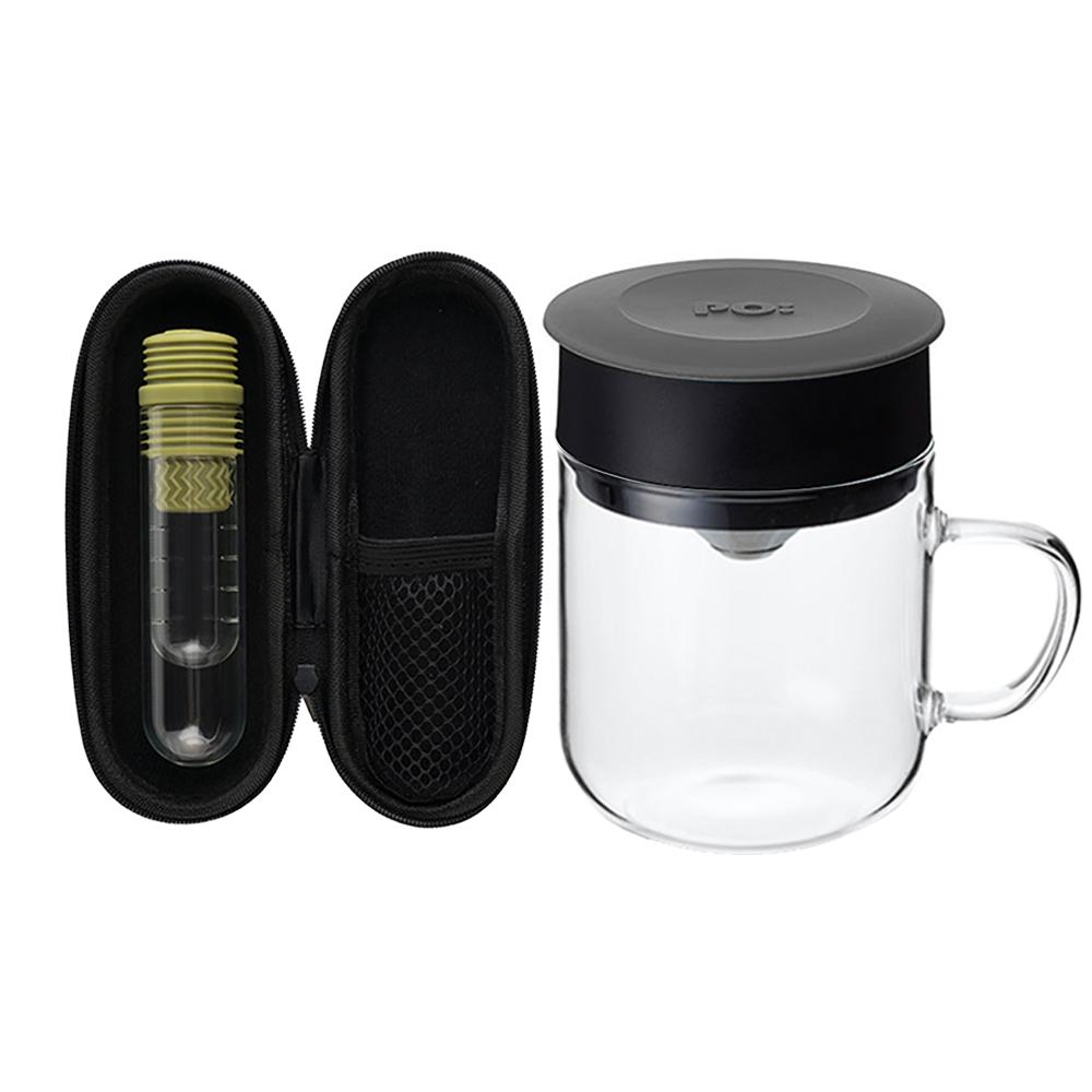 PO:Selected|丹麥咖啡泡茶兩件組 (咖啡玻璃杯240ml-灰/試管茶格-綠)