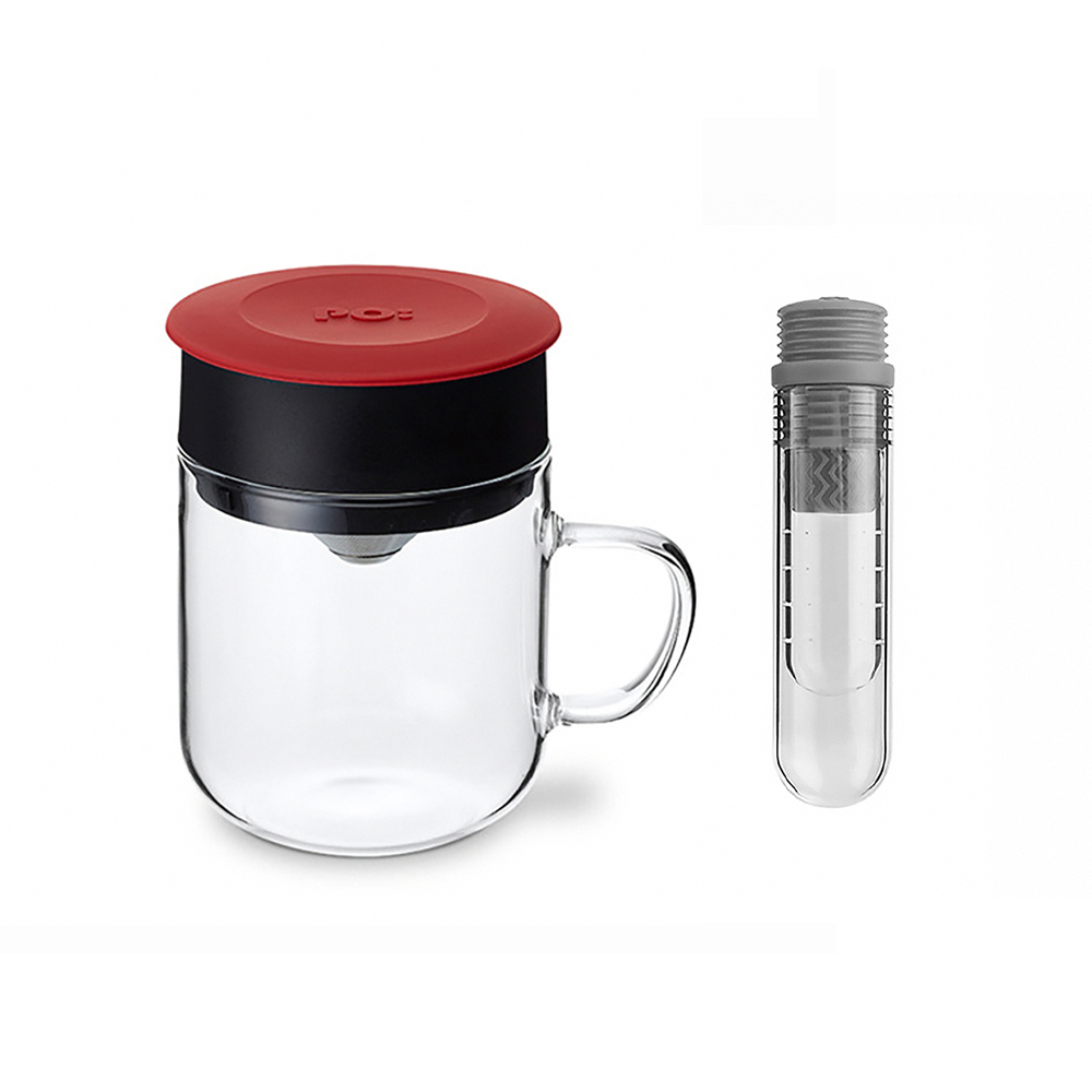 PO:Selected|丹麥咖啡泡茶兩件組 (咖啡玻璃杯240ml-紅/試管茶格-灰)