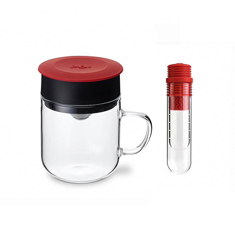 PO:Selected|丹麥咖啡泡茶兩件組 (咖啡玻璃杯240ml-紅/試管茶格-紅)
