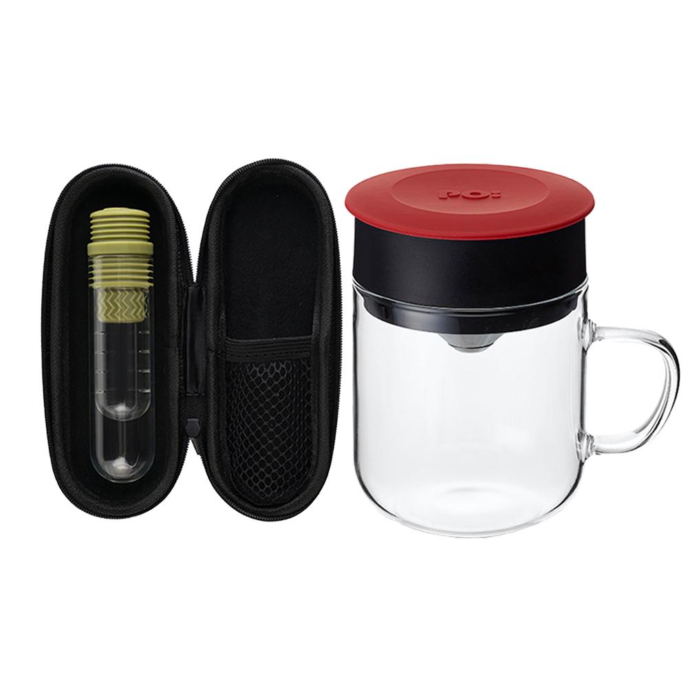 PO:Selected 丹麥咖啡泡茶兩件組 (咖啡玻璃杯240ml-紅/試管茶格-綠)