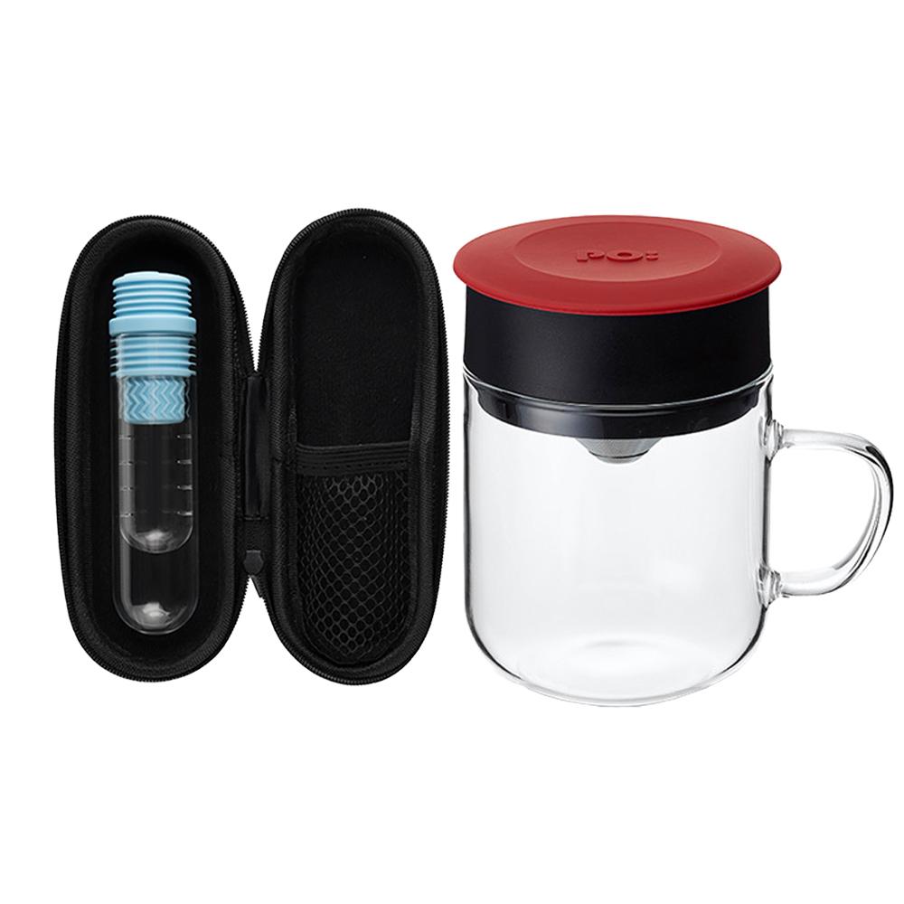 PO:Selected 丹麥咖啡泡茶兩件組 (咖啡玻璃杯240ml-紅/試管茶格-藍)