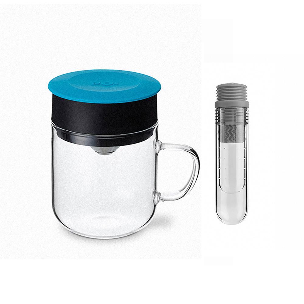 PO:Selected 丹麥咖啡泡茶兩件組 (咖啡玻璃杯240ml-藍/試管茶格-灰)