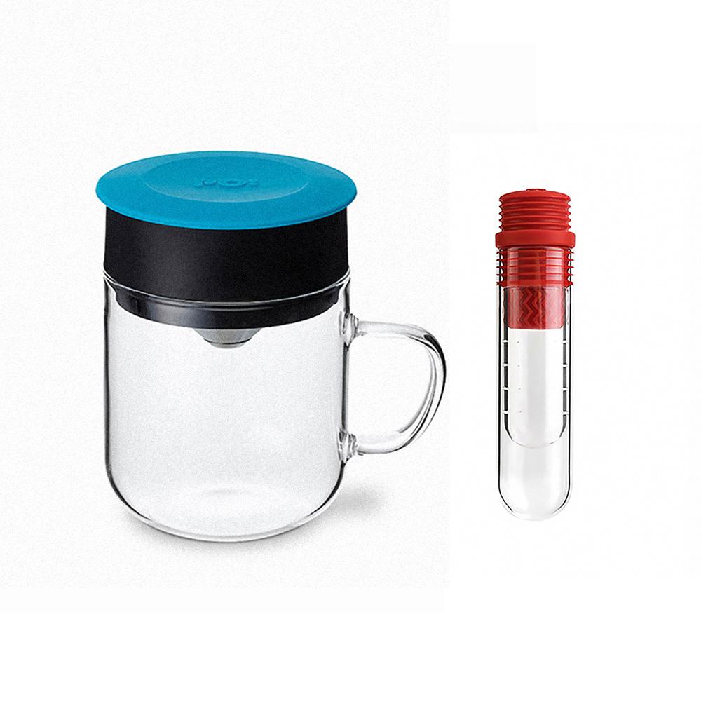 PO:Selected 丹麥咖啡泡茶兩件組 (咖啡玻璃杯240ml-藍/試管茶格-紅)